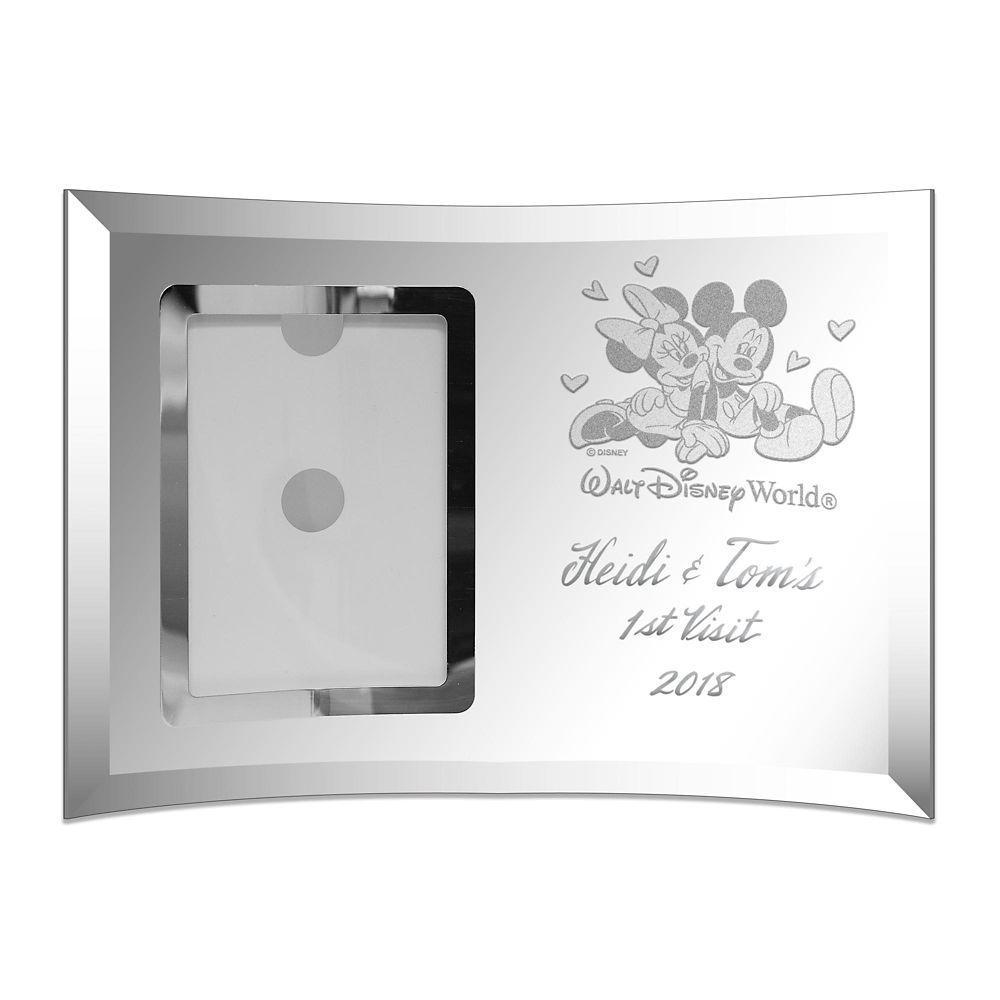 Mickey and Minnie Mouse Walt Disney World Glass Wedding Frame by Arribas – 4'' x 6'' – Personalized