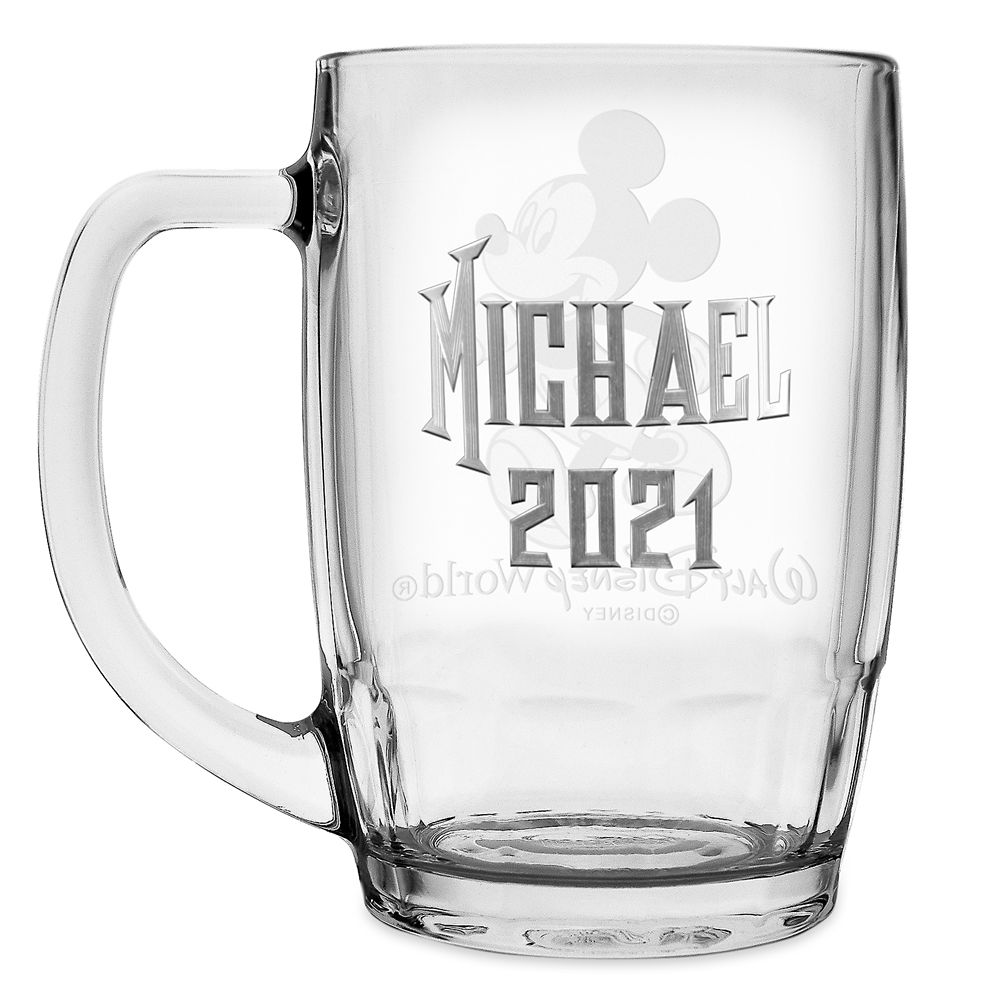 Mickey Mouse Glass Mug by Arribas – Large – Personalizable