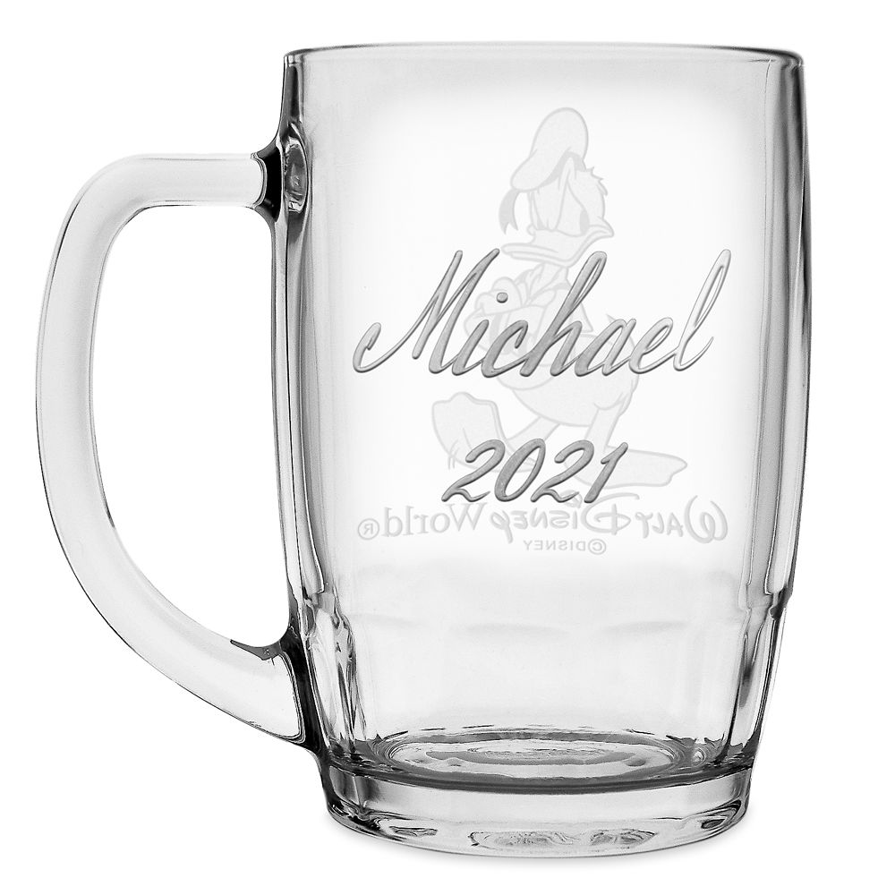 Donald Duck Glass Mug by Arribas – Large – Personalized
