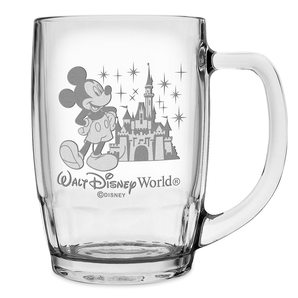 Mickey Mouse and Cinderella Castle Glass Mug by Arribas – Large – Personalizable