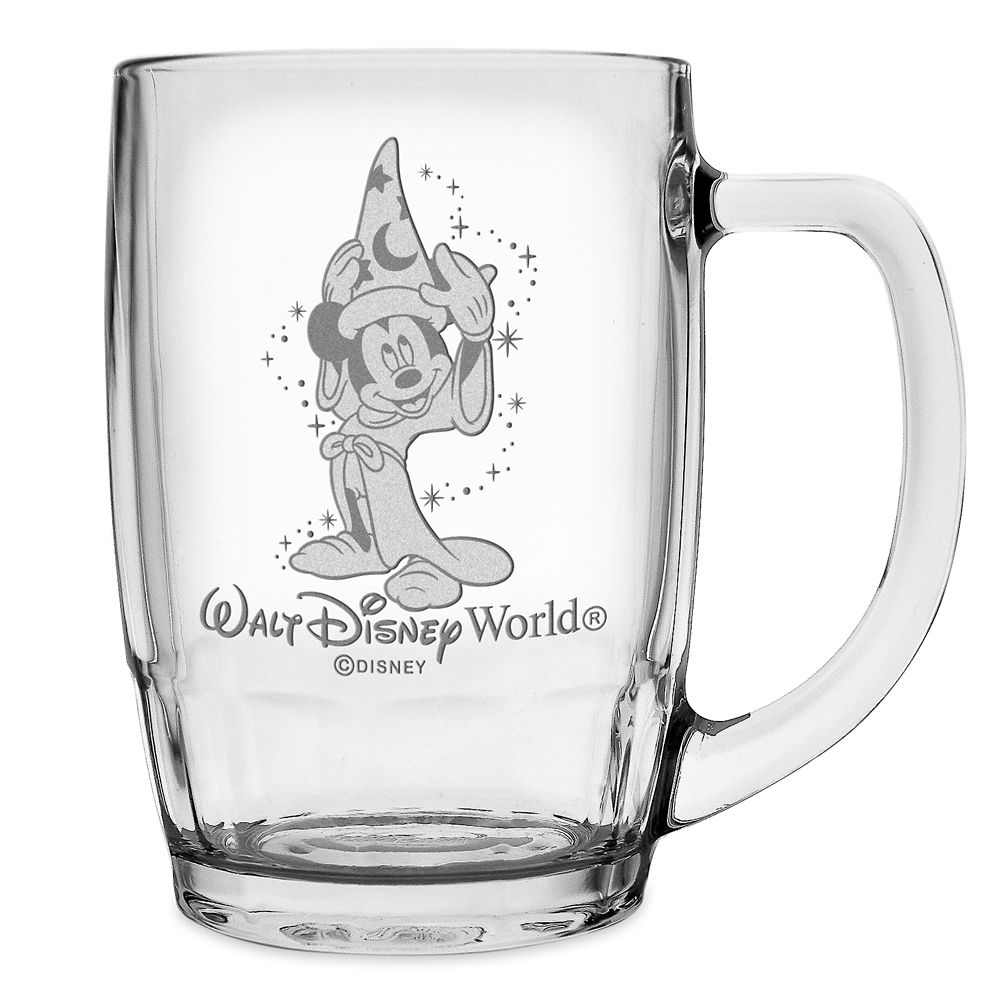 Sorcerer Mickey Mouse Glass Mug by Arribas – Large – Personalizable