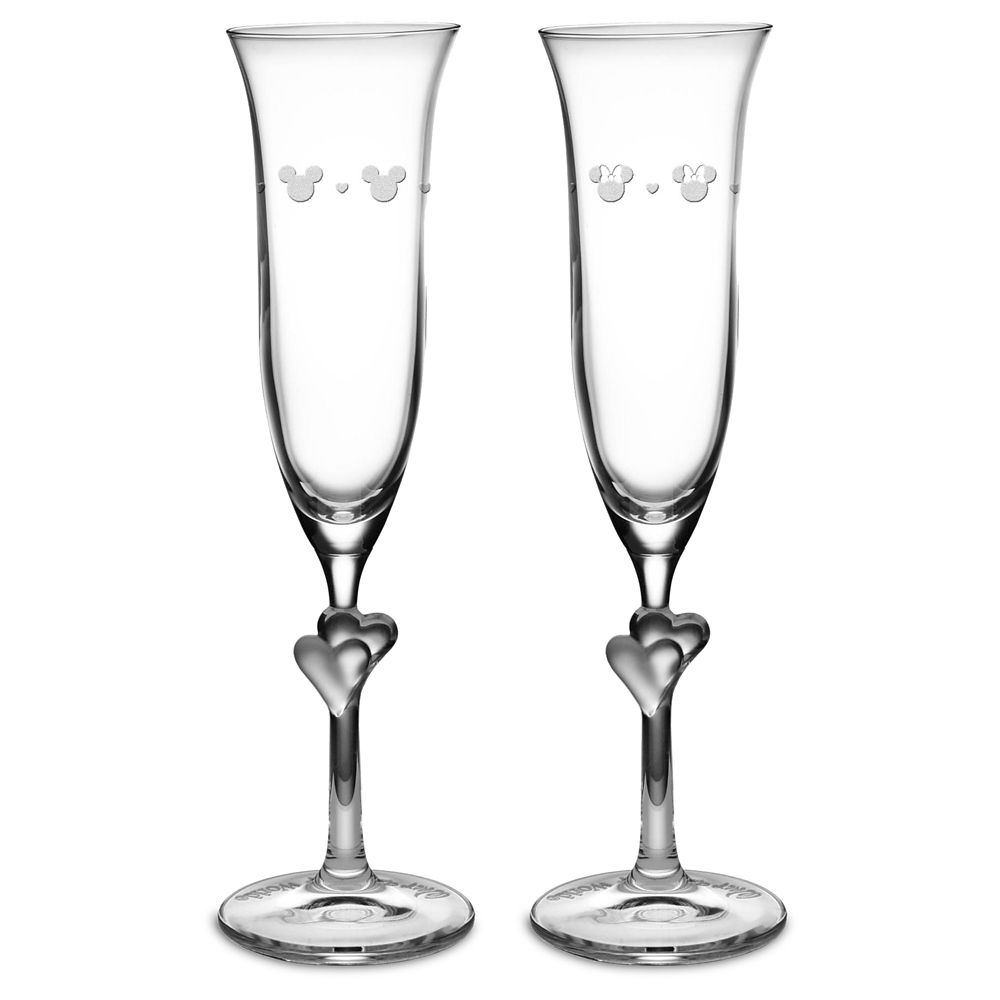 Mickey and Minnie Mouse Glass Flutes by Arribas – Personalized