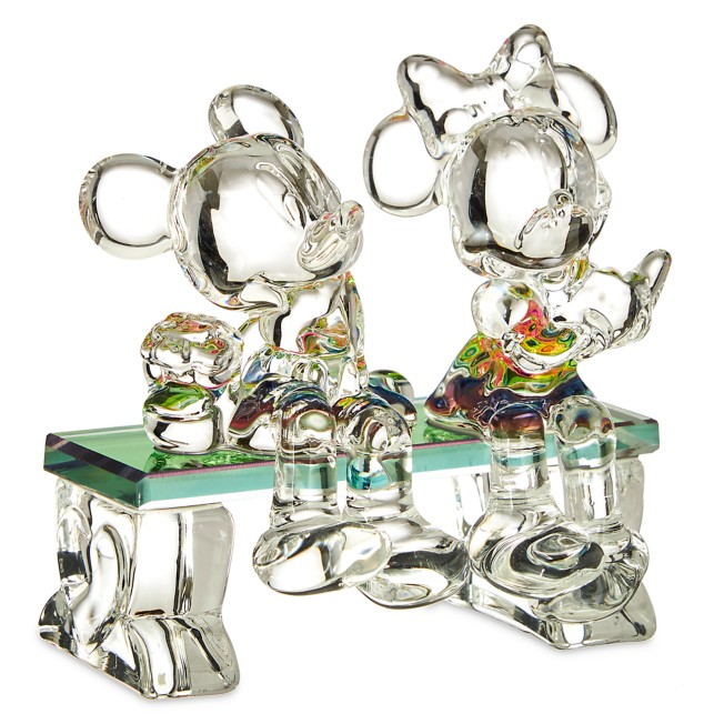 Mickey and Minnie Mouse on Bench Glass Figure by Arribas Brothers