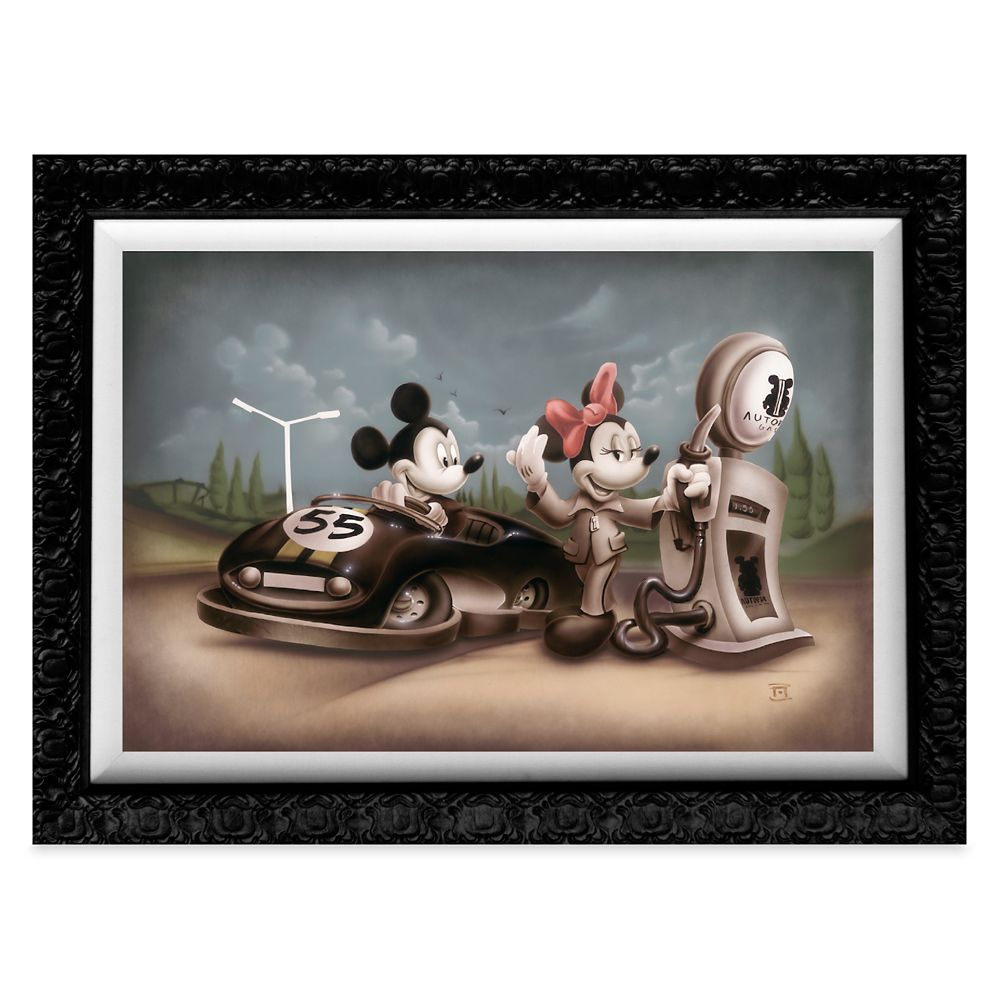 Mickey Mouse and Minnie ''Service with a Smile'' Giclée by Noah