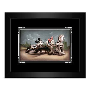 Mickey and Minnie Mouse ''Service with a Smile'' Framed Deluxe Print by Noah