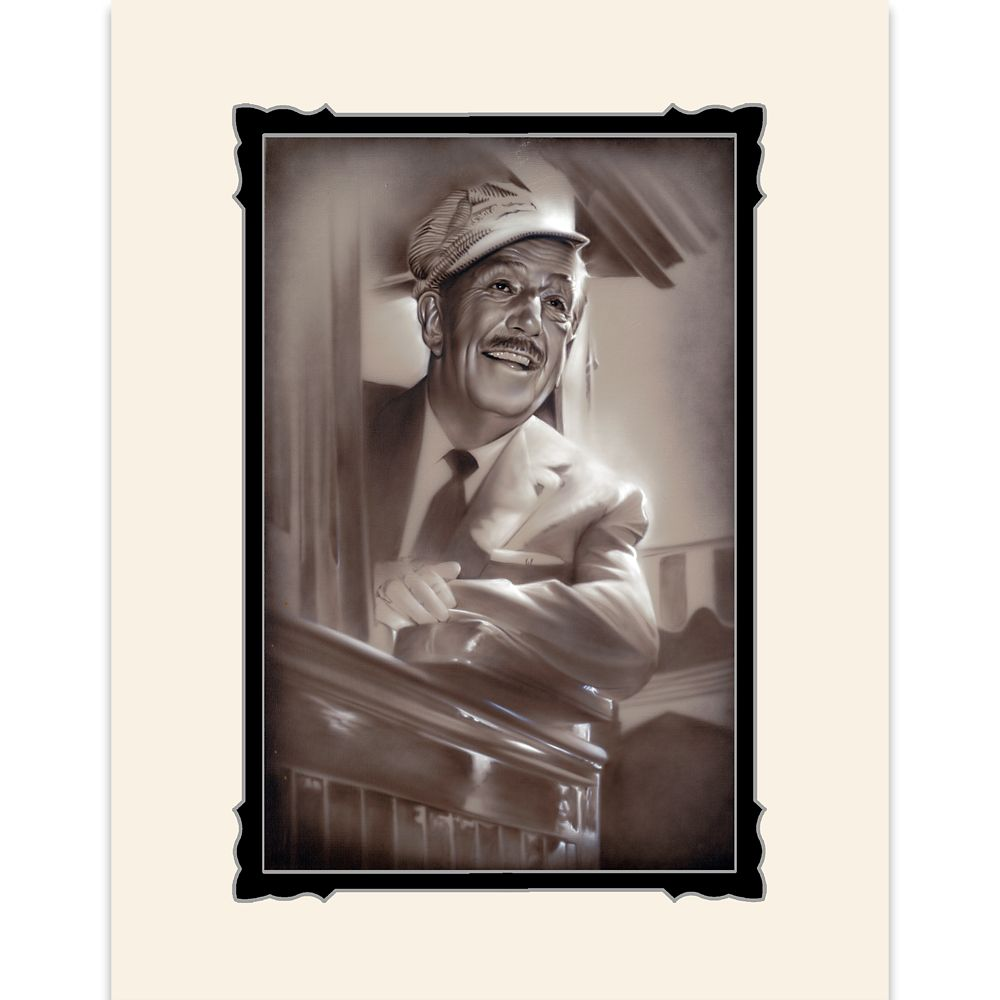 Walt Disney ''Walt in Train'' Deluxe Print by Noah