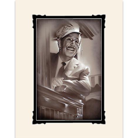 Walt Disney ''Walt in Train'' Deluxe Print by Noah