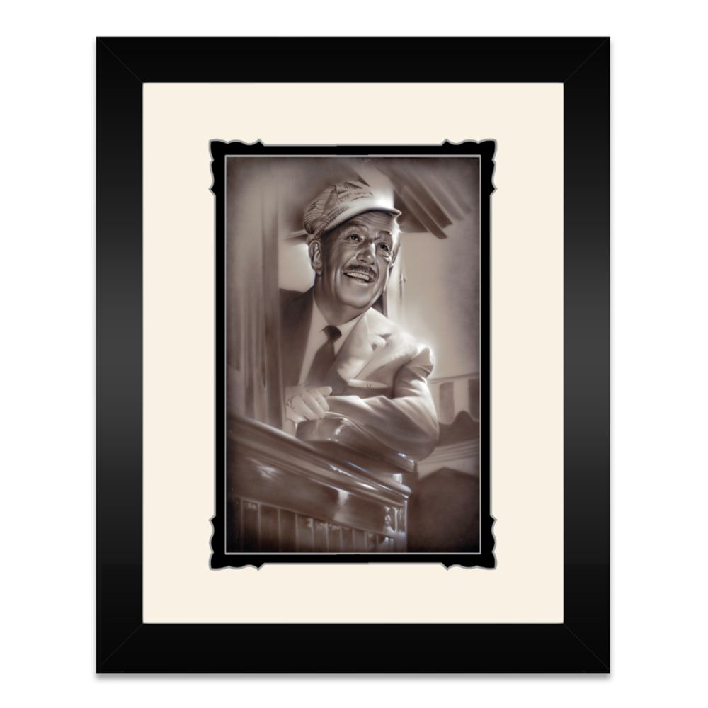 Walt Disney ''Walt in Train'' Framed Deluxe Print by Noah