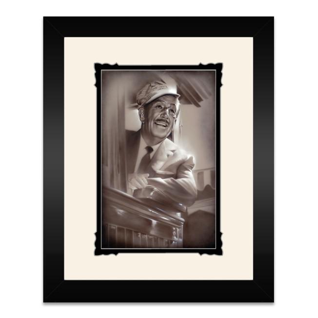 Walt Disney ''Walt in Train'' Framed Deluxe Print by Noah
