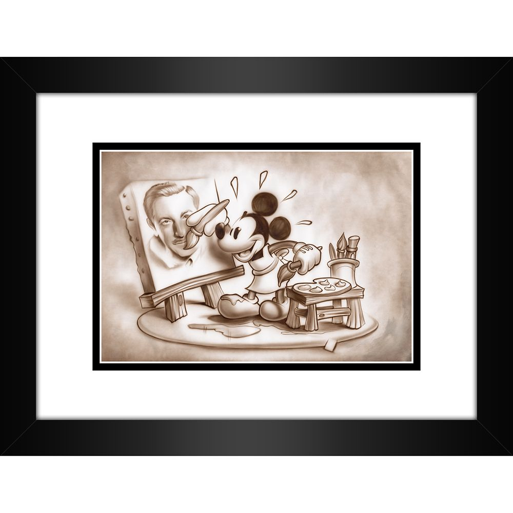 Mickey Mouse ''A Stroke of Genius'' Framed Deluxe Print by Noah