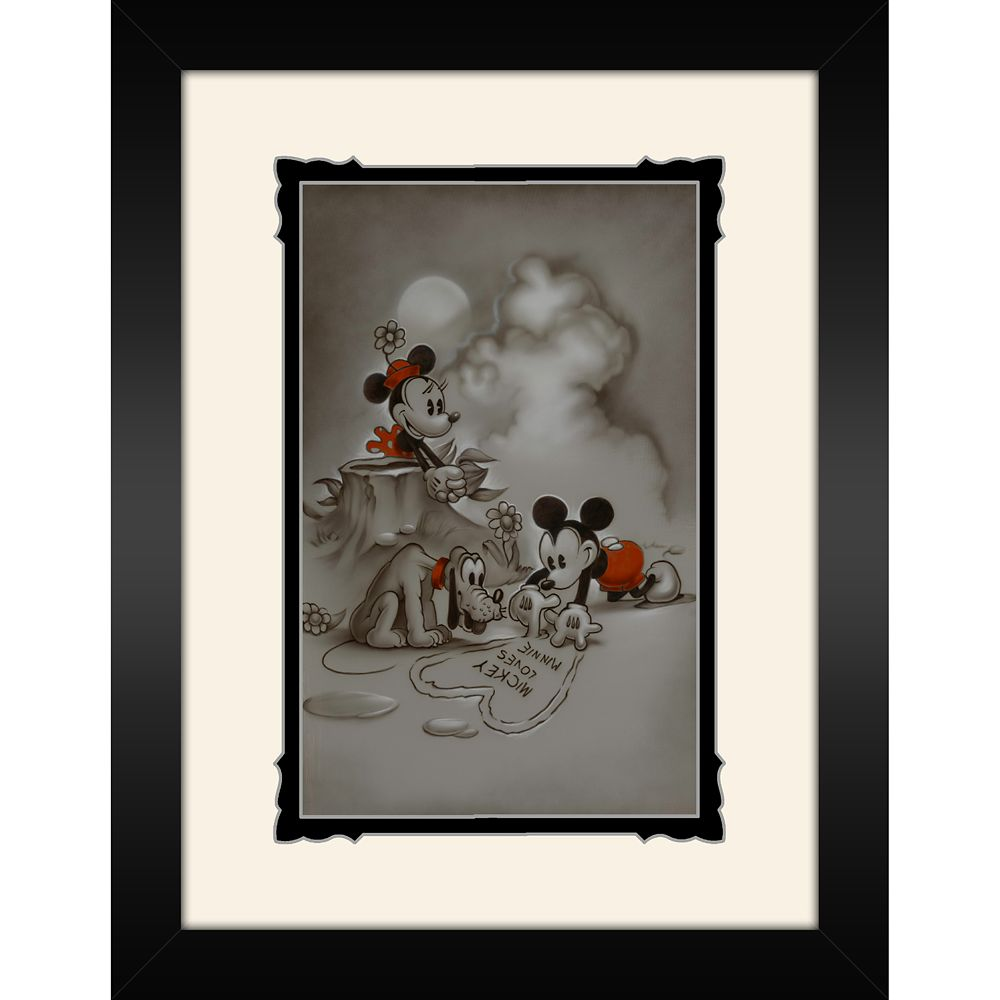 Mickey and Minnie Mouse ''Mickey Loves Minnie'' Framed Deluxe Print by Noah Official shopDisney