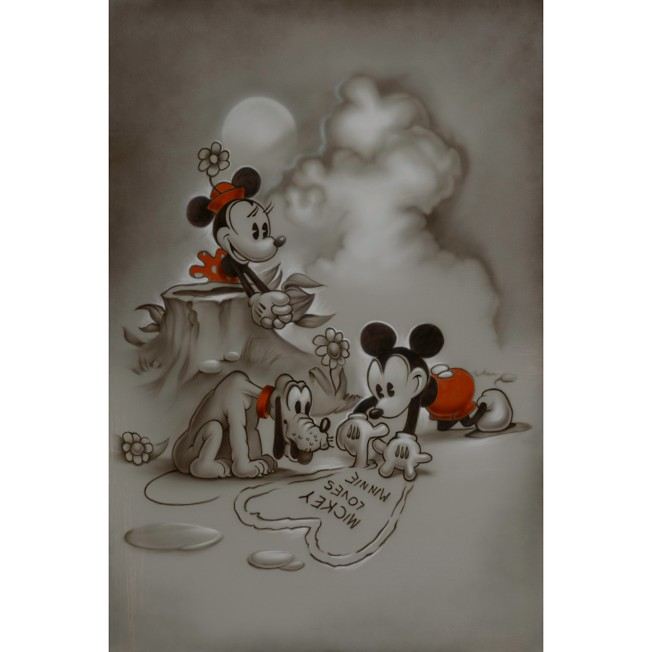 Mickey and Minnie Mouse ''Mickey Loves Minnie'' Giclée by Noah
