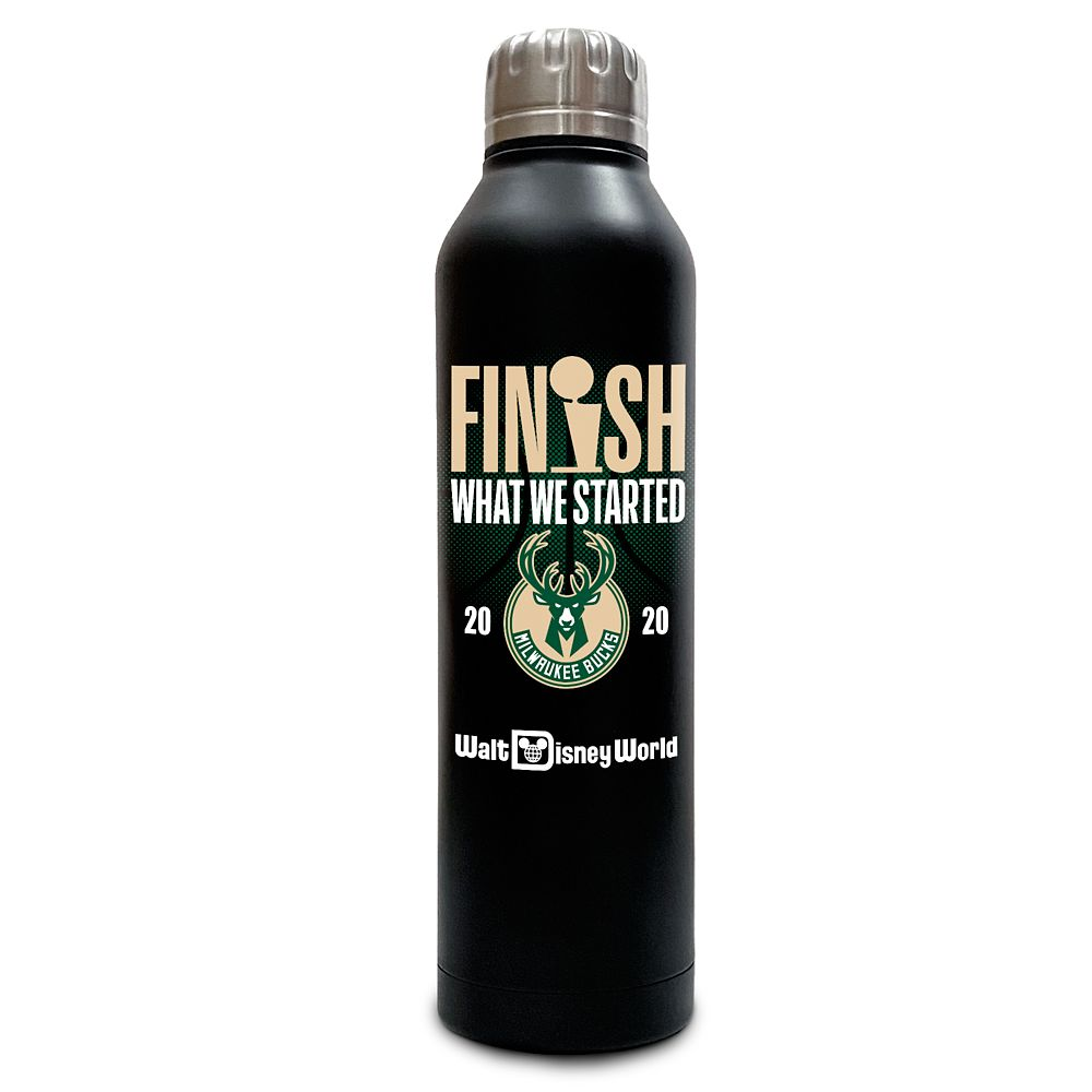 Milwaukee Bucks ''Finish What We Started'' Stainless Steel Water Bottle – NBA Experience