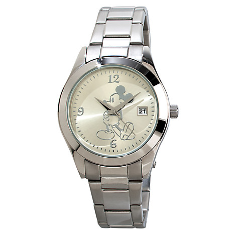 Silver Metal-Link Mickey Mouse Watch