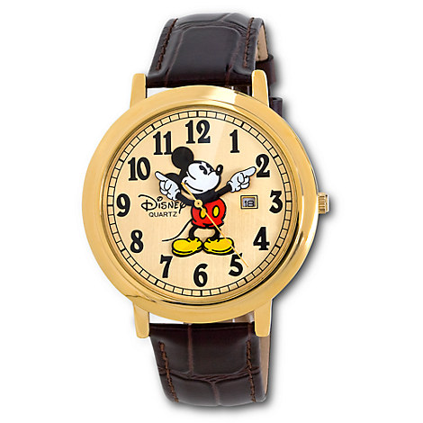 Jumbo Classic Mickey Mouse Watch -- Brown/Gold