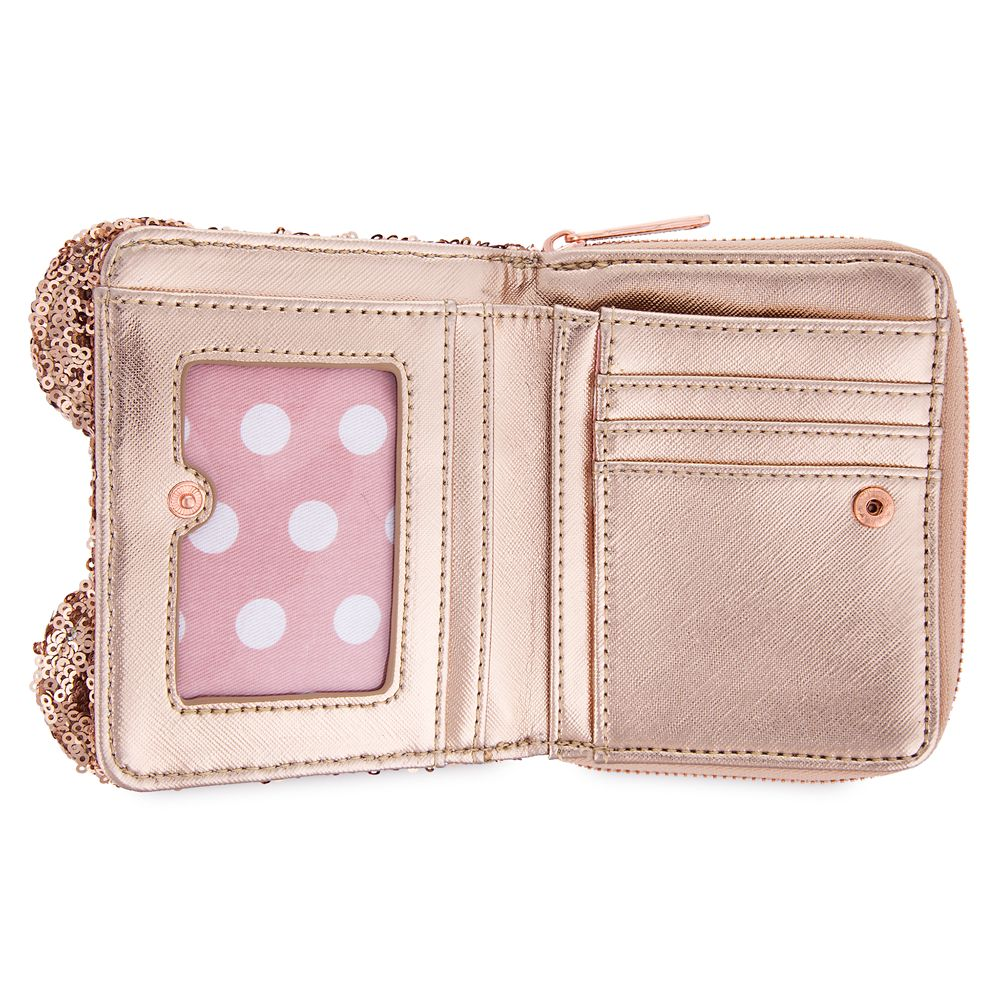 Minnie Mouse Sequined Wallet by Loungefly – Rose Gold