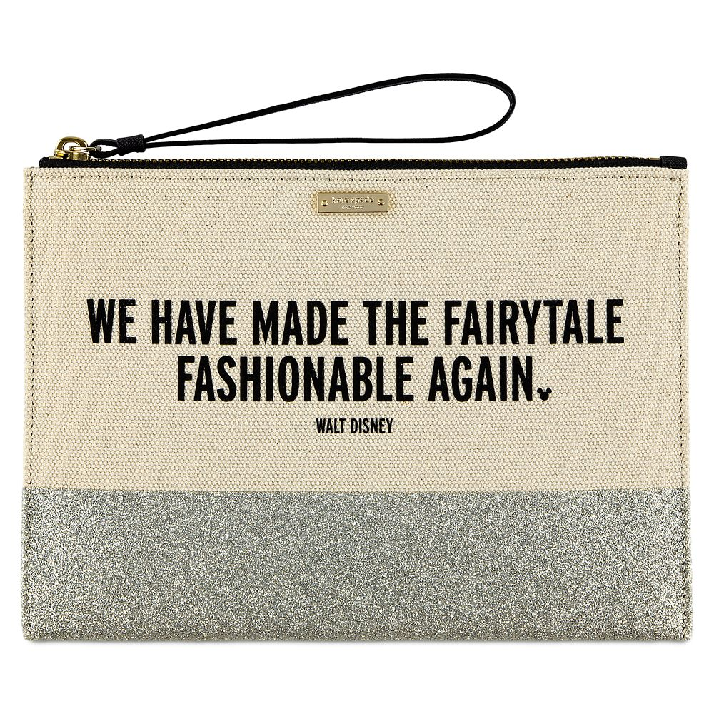 ''We Have Made the Fairytale Fashionable Again'' Canvas Glitter Clutch by kate spade new york Official shopDisney