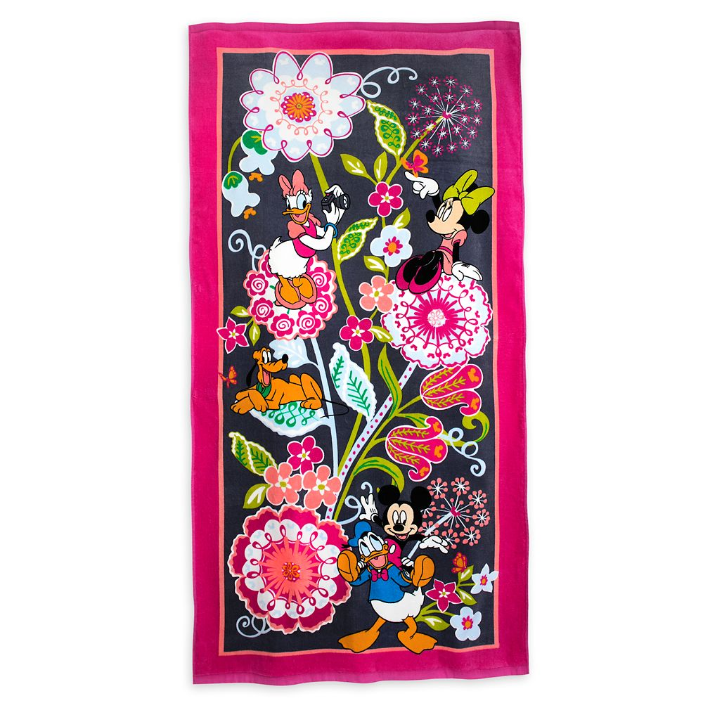 Mickey Mouse and Friends Floral Beach Towel by Vera Bradley