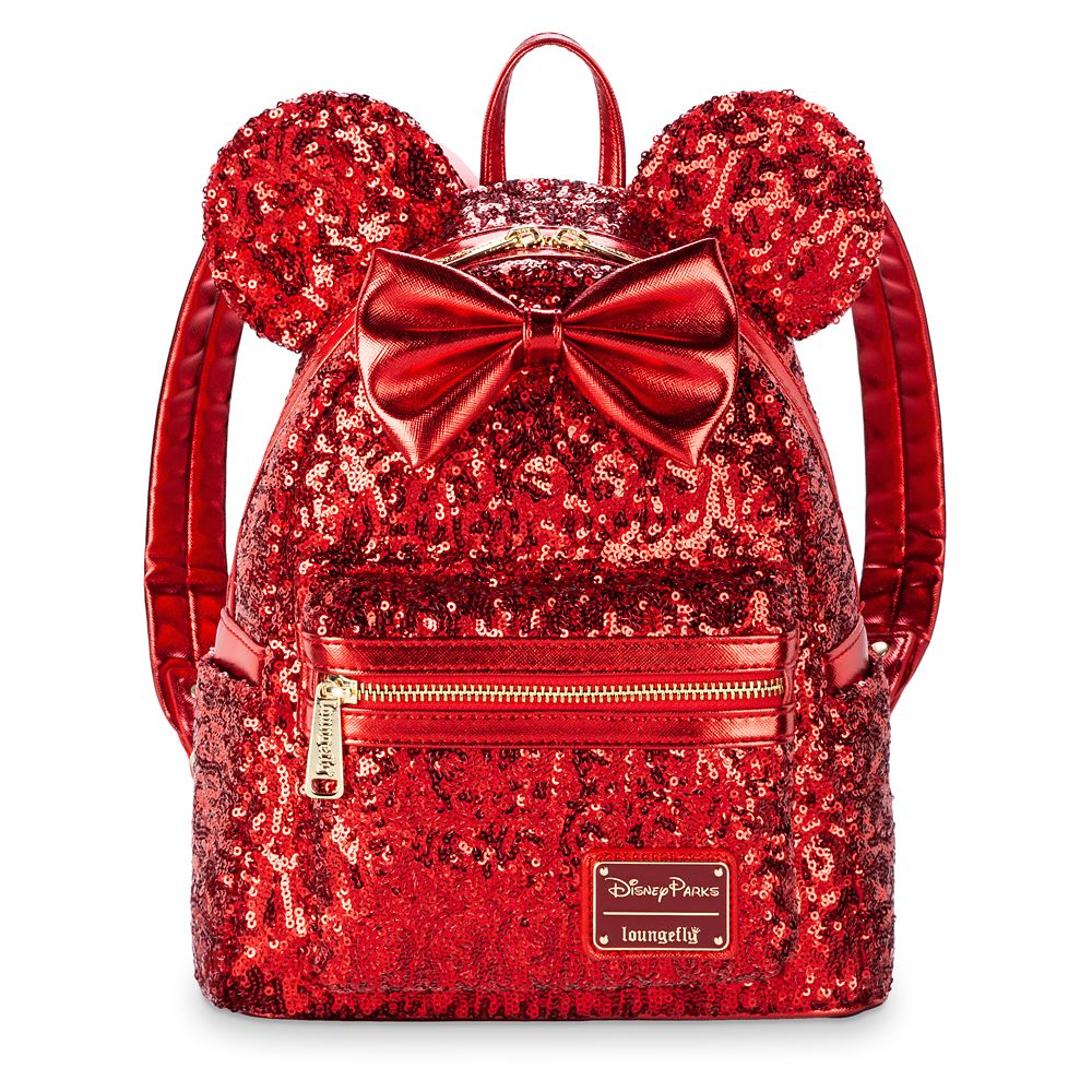 Disney gift ideas Minnie Mouse Sequined Mini Backpack by Loungefly Red Official shopDisney