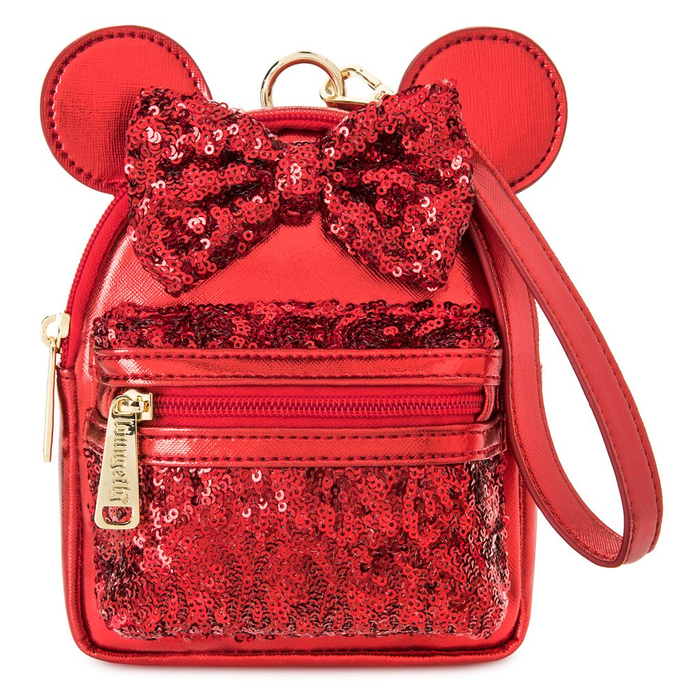 Minnie Mouse Sequined Mini Backpack Wristlet by Loungefly – Red