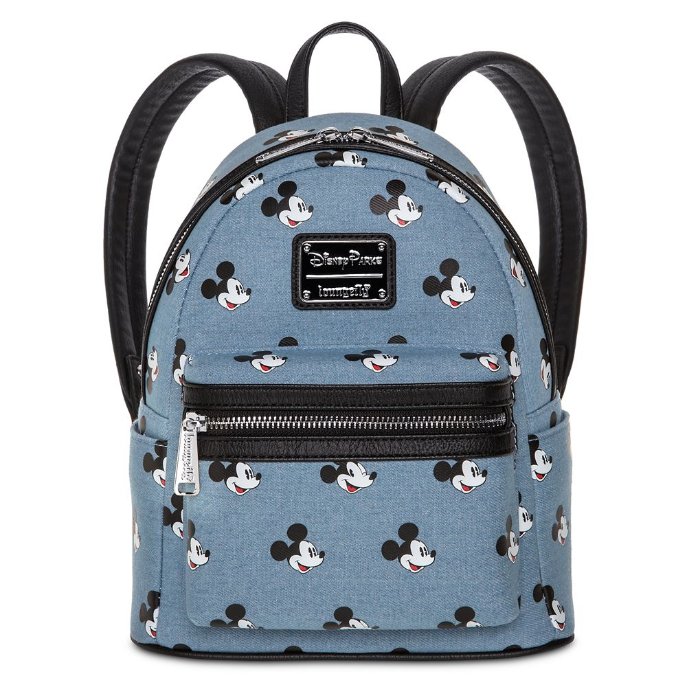Mickey Mouse Denim Mini Backpack by Loungefly
