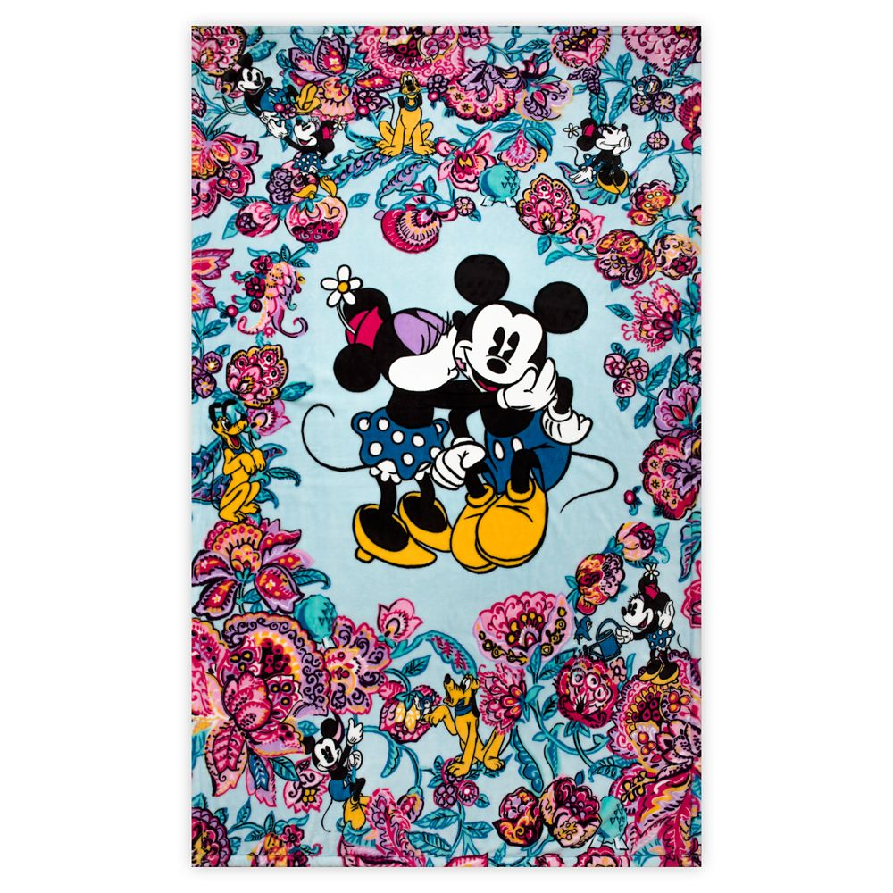 Mickey Mouse and Friends Colorful Garden Plush Throw Blanket by Vera Bradley