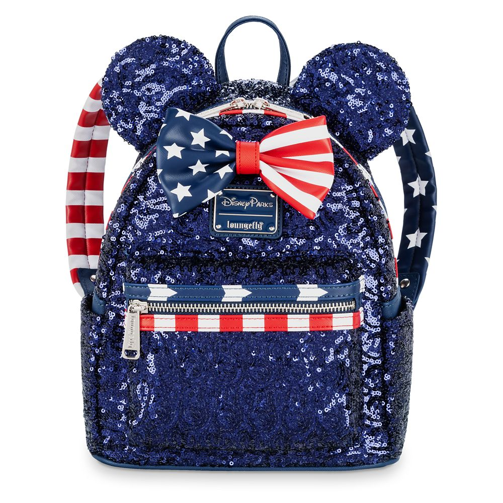 Minnie Mouse Sequined Stars and Stripes Mini Backpack by Loungefly