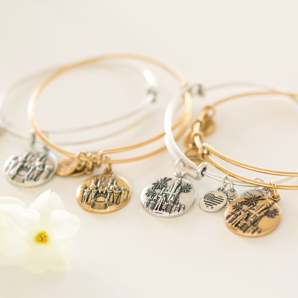 Cinderella Castle with Walt Disney and Mickey Mouse ''Partners'' Bangle by Alex and Ani – Walt Disney World – Silver