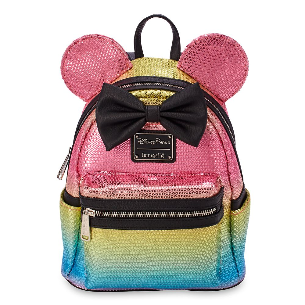 Minnie Mouse Sequined Mini Backpack with Bow by Loungefly – Rainbow