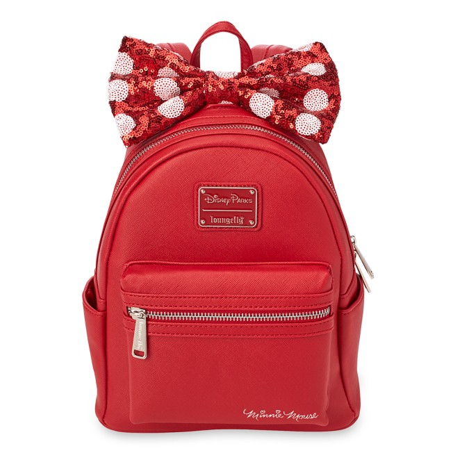 Minnie Mouse Mini Backpack with Sequined Bow by Loungefly