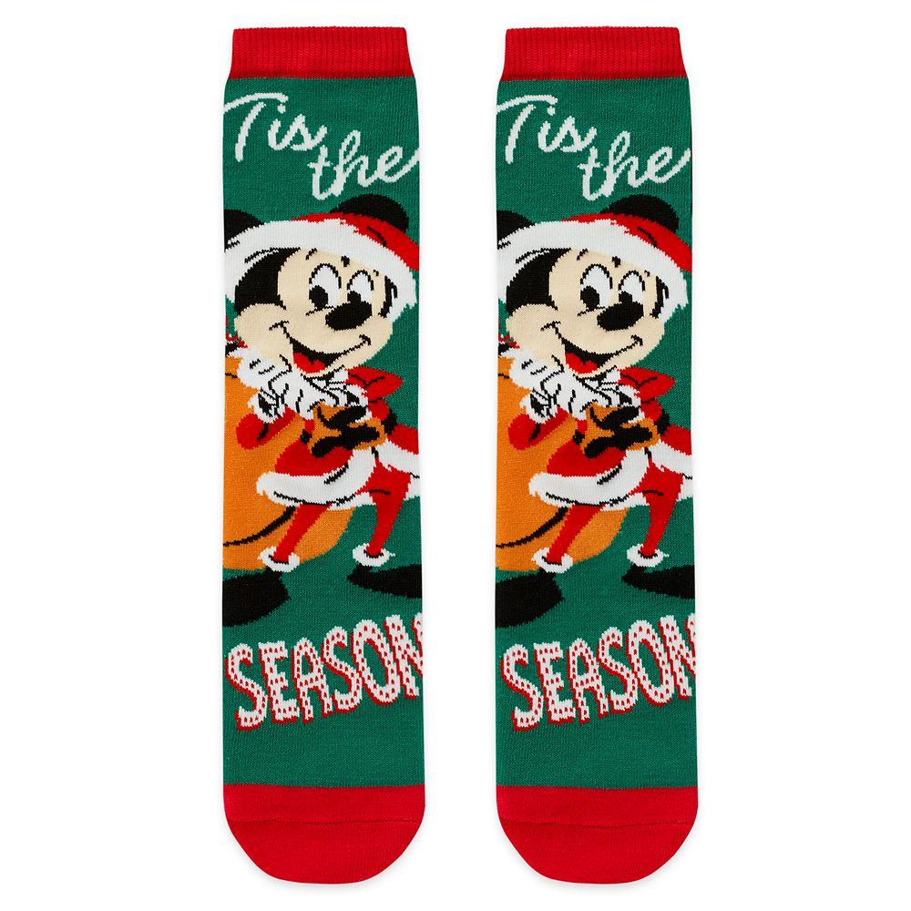 Santa Mickey Mouse Holiday Socks for Adults