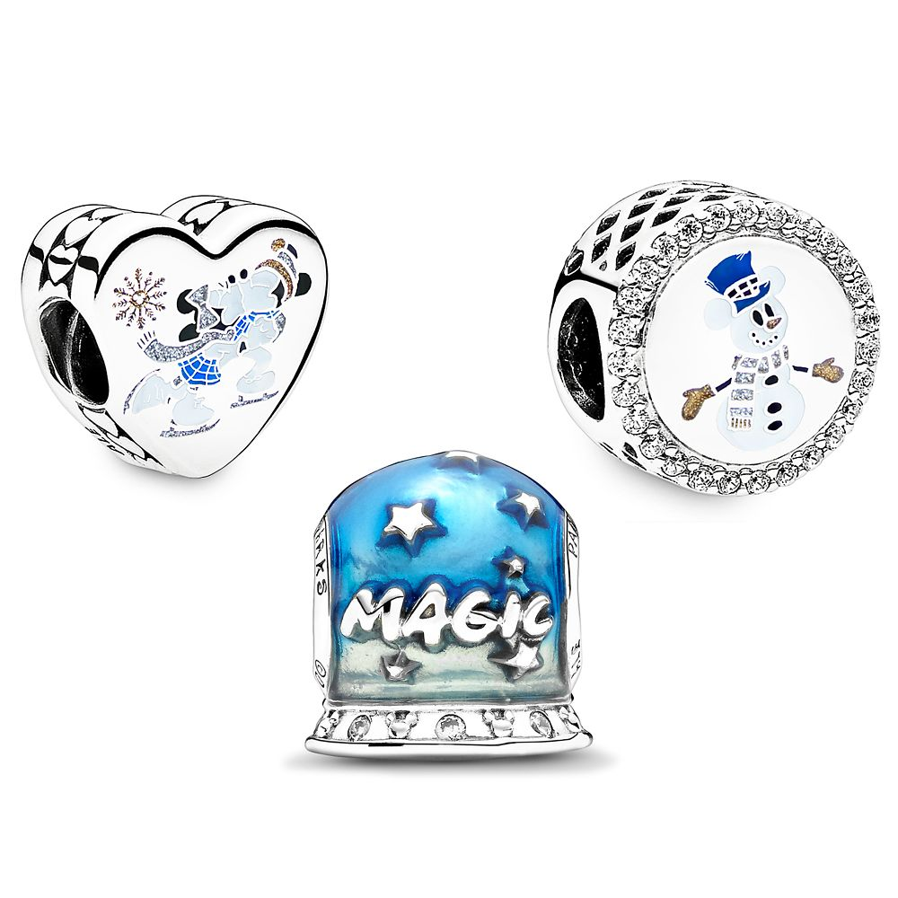 Mickey and Minnie Mouse Silver and Gold Pandora Jewelry Charm Set