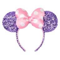 Minnie Mouse Sequined Ear Headband with Bow – Lavender & Pink