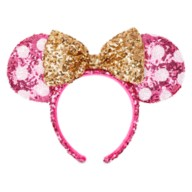 Minnie Mouse Sequined Ear Headband with Bow – Hot Pink & Gold
