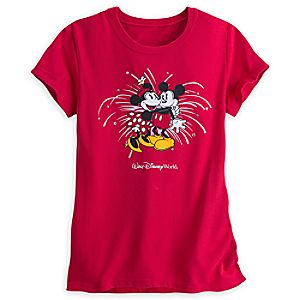 Mickey and Minnie Mouse Starburst Tee for Women - Red - Walt Disney World