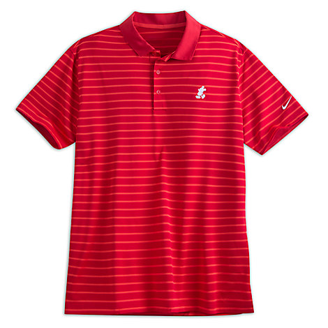 Mickey Mouse Striped Polo Shirt for Men by NikeGolf - Red