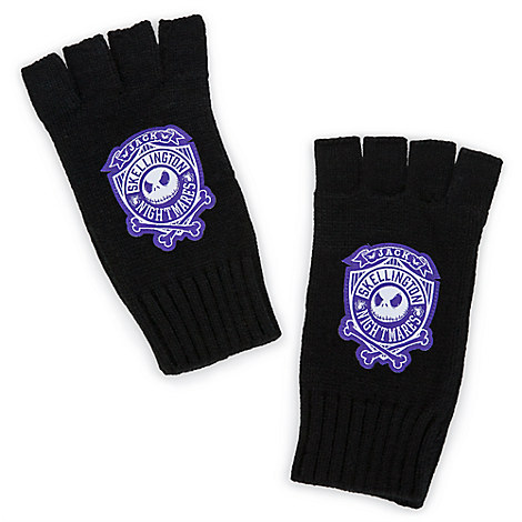 Jack Skellington Knit Fingerless Gloves for Adults