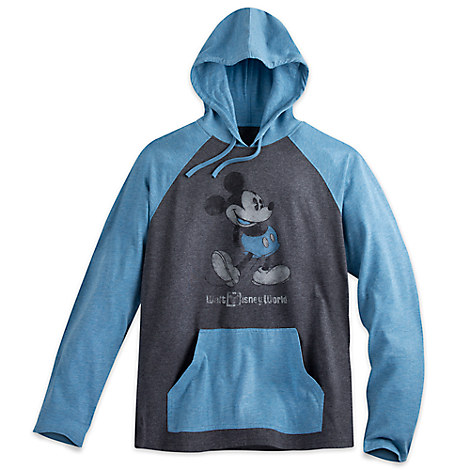 Mickey Mouse Long Sleeve Hooded Tee for Men - Walt Disney World - Blue