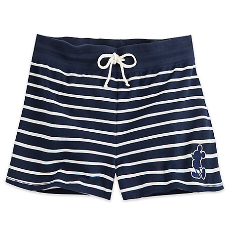 Mickey Mouse Nautical Stripe Lounge Shorts for Women