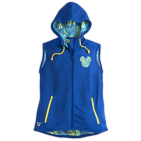 Mickey Mouse Mosaic Sleeveless Hoodie Performance Jacket for Women