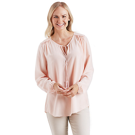 Kingdom Couture Tasseled Silk Top for Women