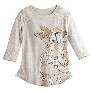 Donald and Daisy Duck Lace Fashion Top for Women by Disney Boutique