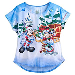 Santa Mickey Mouse and Friends Holiday 2016 Tee for Women - Walt Disney World