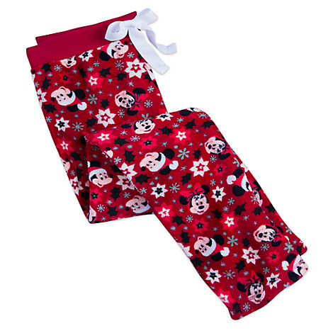 Santa Mickey and Minnie Mouse Fleece Pants for Women