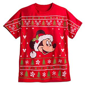 Santa Mickey Mouse Holiday Tee for Adults