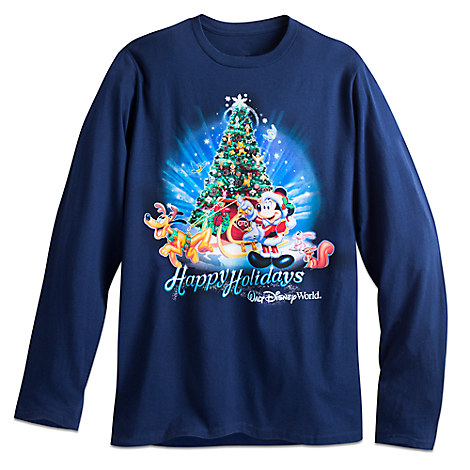 Santa Mickey Mouse and Pluto Long Sleeve Holiday Tee for Adults - Walt Disney World