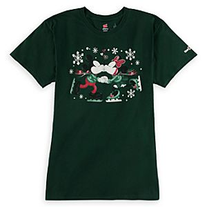 Mickey and Minnie Mouse Happy Holidays Tee for Women - Walt Disney World