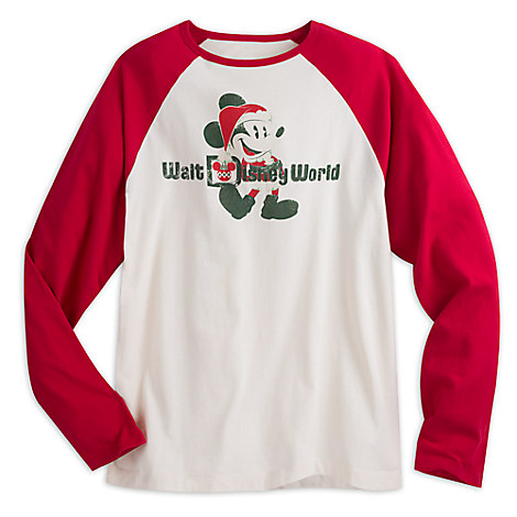 Santa Mickey Mouse Raglan Tee for Men - Walt Disney World
