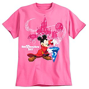 Sorcerer Mickey Mouse Tee for Adults – Walt Disney World 2017 – Pink