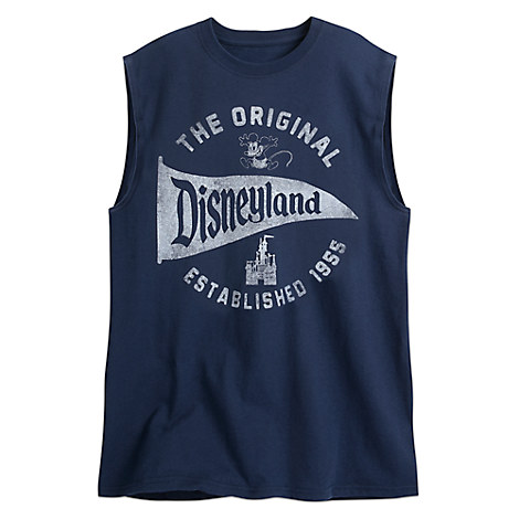 Disneyland Pennant Sleeveless Tee for Adults - Navy